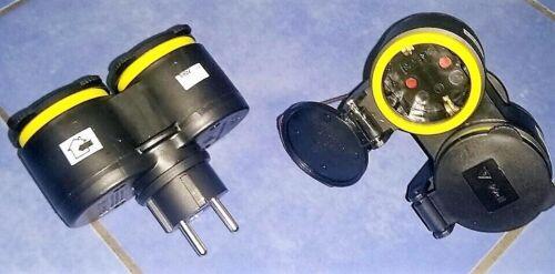 # 2 Stück GUMMI IP44 7,78€//St Doppel Schuko Schutzkontaktkupplung STECKER XX
