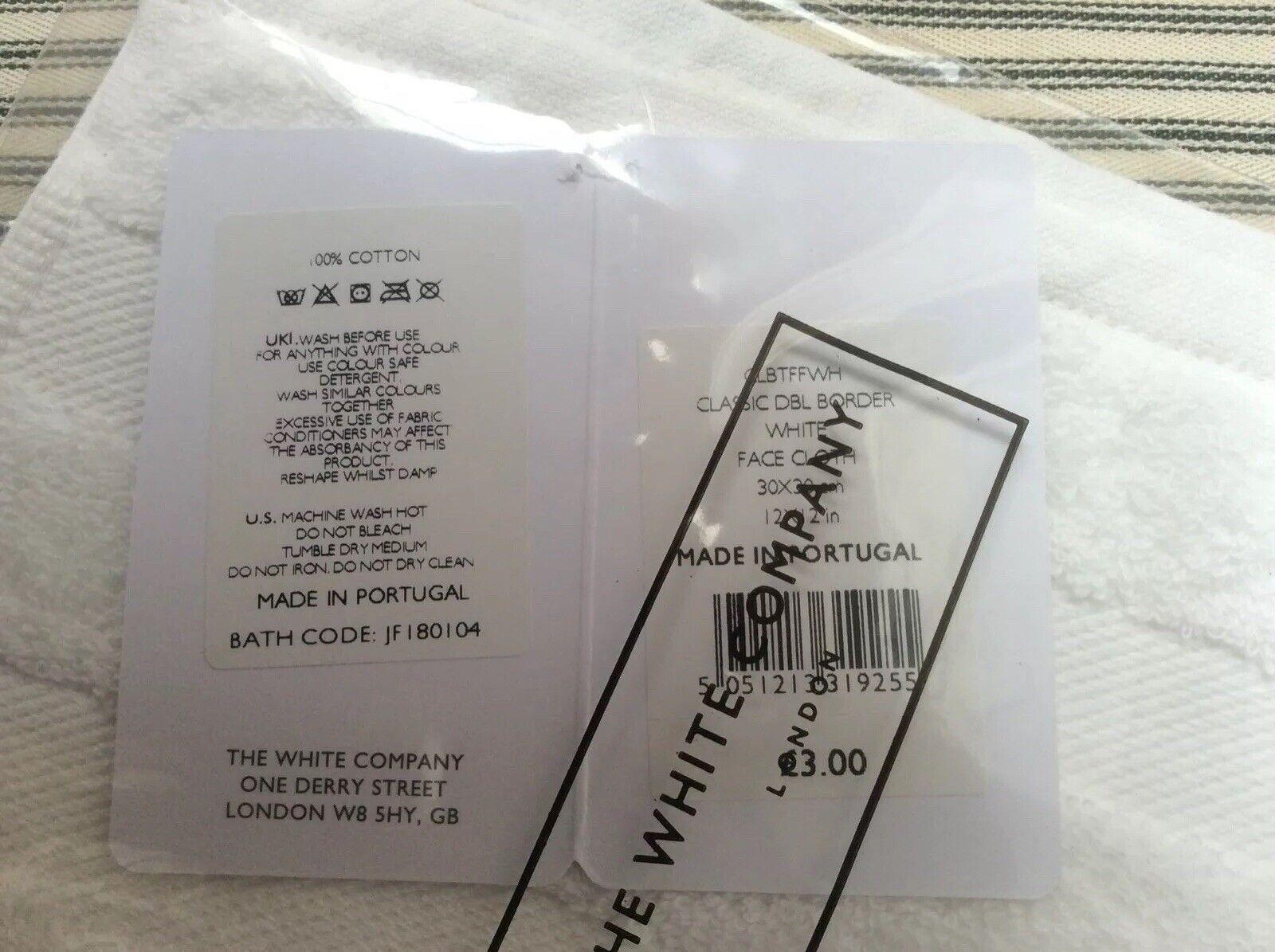 The White Company White Face Cloth BNWT