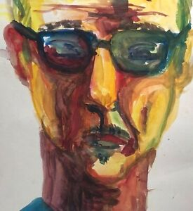 2009 ABSTRACT EXPRESSIONIST FIGURE PORTRAIT STUDY MIXED MEDIA PAINTING