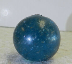 #12661m Vintage German Handmade Blue Mica Marble With Ghost Core .80 Inches
