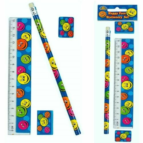 Ruler Sharpener 17 cm SMILEY HAPPY FACE 4 PIECE STATIONERY SET with Pencil