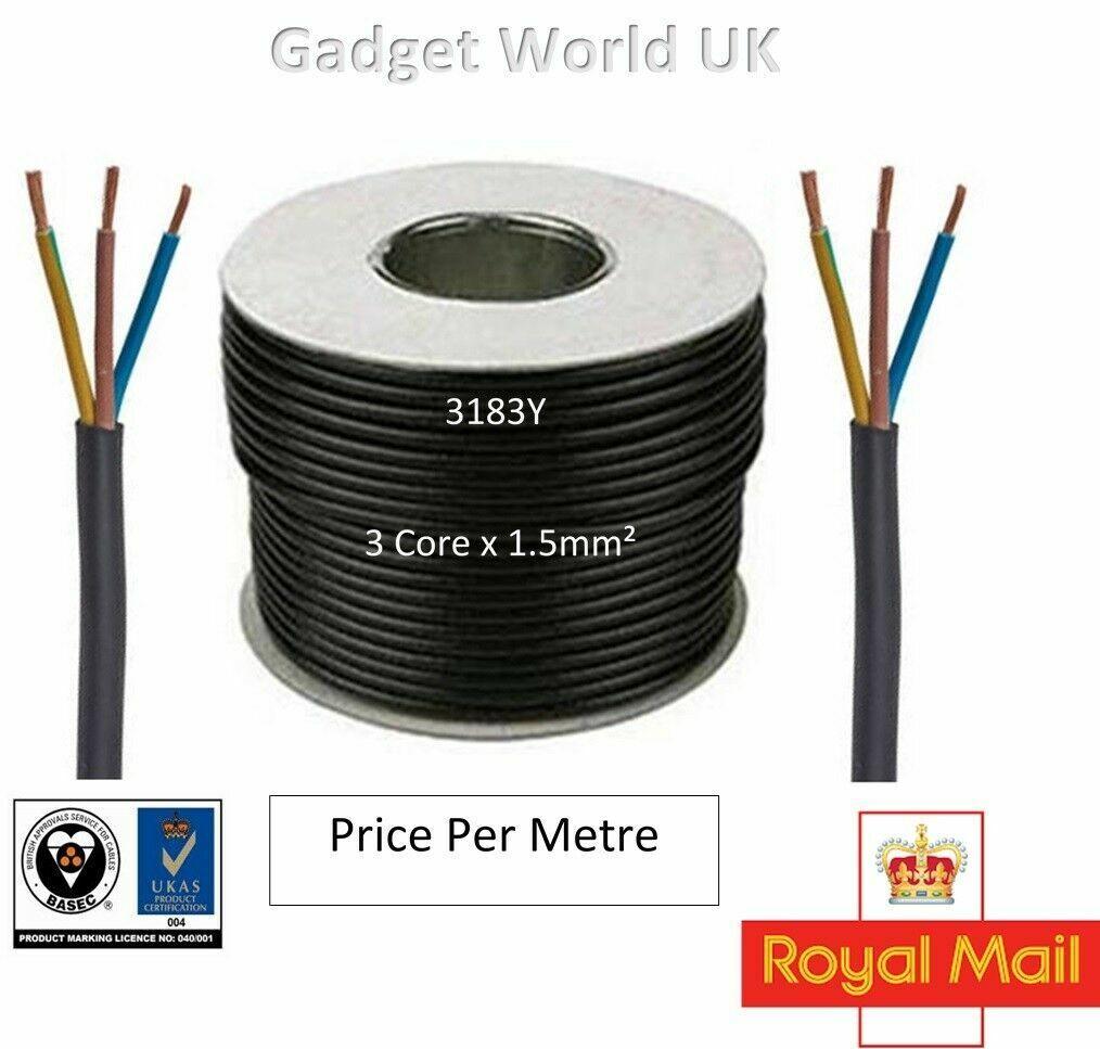 25m Metre Coil 2.5mm BLACK 240v 3 Core Round Flex PVC Cable Reel Wire UK 3183Y