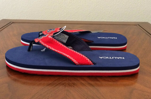 c6642f091b8188 Boys Girls Youth Size 1 M Nautica Navy   Rouge Red Harwich Flip Flop Sandals