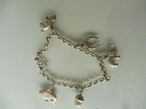 Schönes , altes Armband , Silber , Bettelarmband mit 5 schönen Anhänger ,Charms