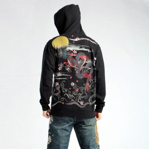 Mens Japanese Pattern Embroidery Sukajan Jacket Hoodie Hooded Sweatshirt Dragon