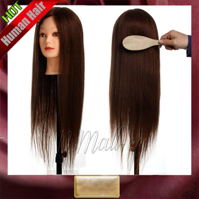 "26"" 90% Real Human Hair Training Cutting Braiding Practice Mannequin Head"