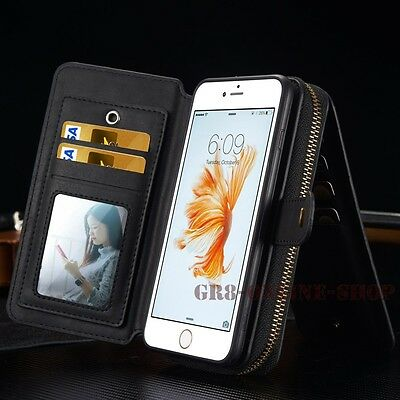 Removable Luxury Flip Leather Zipper Wallet Cards Case Cover For iPhone Samsung