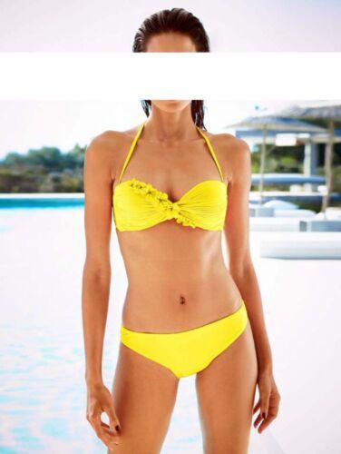 Heine Bandeau Bikini Blüten Gelb Tankini Badeanzug Bademode Cup B Gr 36 38 40 44