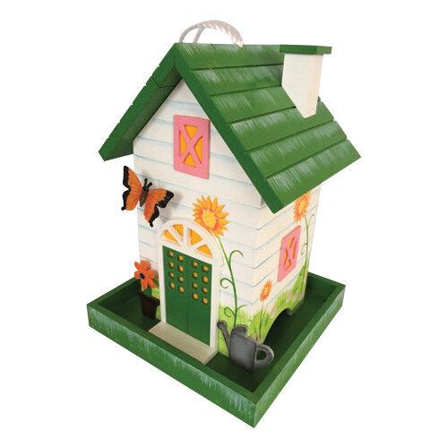 Decorative pienamente funzionale da appendere Bird House Alimentatore con motivo a farfalla 3D