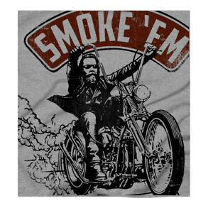 Smoke-039-em-Harley-Chopper-70-039-s-Motorcycles-Classic-Biker-Grey-T-Shirt