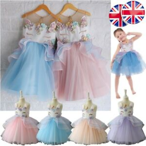 dc40a79e49a2 Image is loading UK-Girls-Unicorn-Princess-Dress-Embroidery-Flower-Clothing-