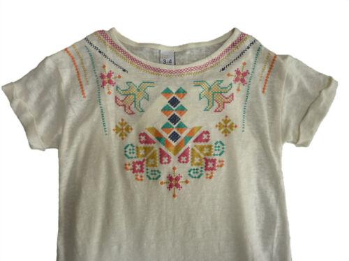 Zara Filles Ivoire Multi joug Imprimé Folk Tribal Robe Tunique 3-8y £ 17.99