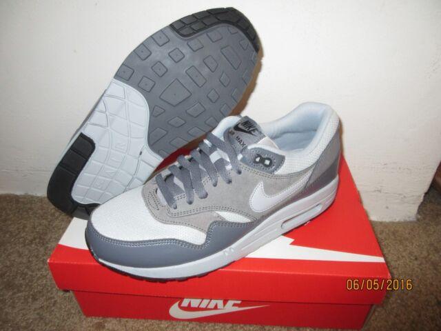 Nike Air Max 1 Essential Sz 8.5 Wolf GreyDark Grey Classic Leather Men's Shoes