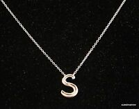Silver Necklace Letter S Adjustable 16 To 18 York & Co Designer Pendant