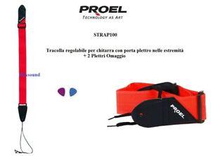 PROEL-STRAP100-RD-Tracolla-regolabile-per-chitarra-con-Porta-plettro-2-PLETTRI