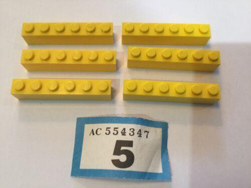 Lego Bricks 1x6 Part 3009 x 6 Yellow