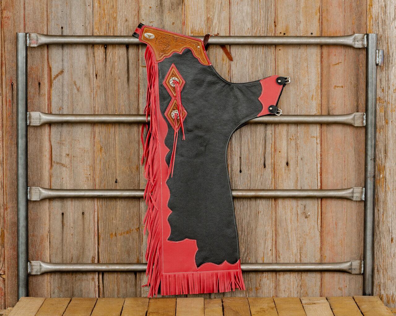 Western Negro Cuero de grano superior Caballo Toro Rodeo Chaps Filigrana que empareja  2005