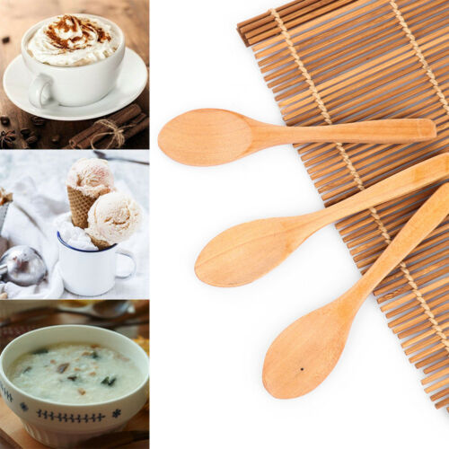 3PCS Condiment Mini Wooden Spoon Cooking Teaspoon Kids Ice Cream Tableware Hot