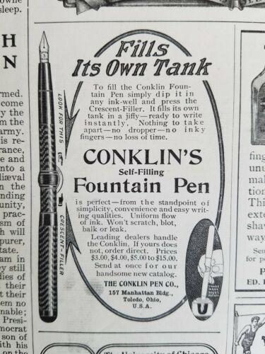 1907 Conklin selffilling fountain pen fills its own tank original ad
