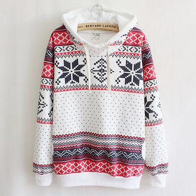 Women Hoodie Jumper Sweater Christmas Snowflake Sweatshirt Winter Pullover Tops