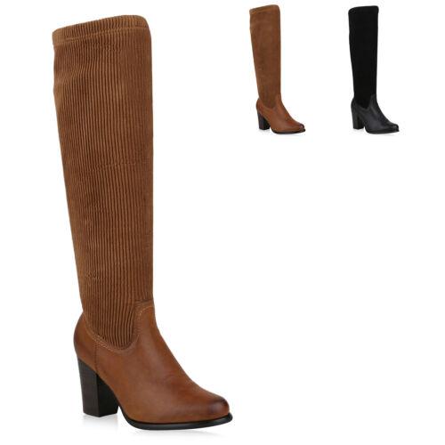 894375 Klassische Damen Stiefel Schuhe Boots Leder-Optik Mode