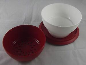 Tupperware-Allegra-1-l-Antipasteria-mit-Einsatz-und-Deckel-Rot-Weiss-Neu-OVP