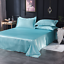 Satin-Silk-Bedding-Set-Flat-Bed-Sheet-Pillow-Case-Flat-Sheet-Twin-Queen-King-Bed miniature 6