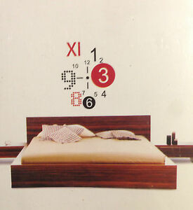 Design wand uhr wohnzimmer wanduhr 50x70cm wandtattoo deko xxl 3d stylisch neu ebay - Wohnzimmer deko wand ...
