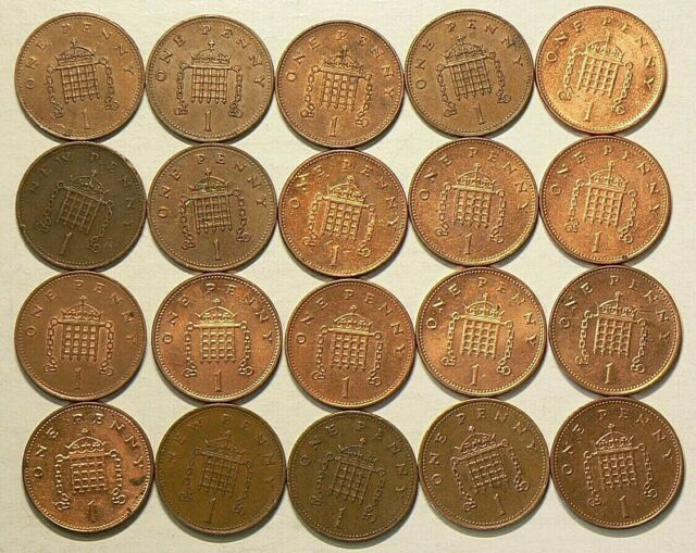 1971 to 2000 Great Britain UK Penny Lot of 20 Some Duplicates #6766
