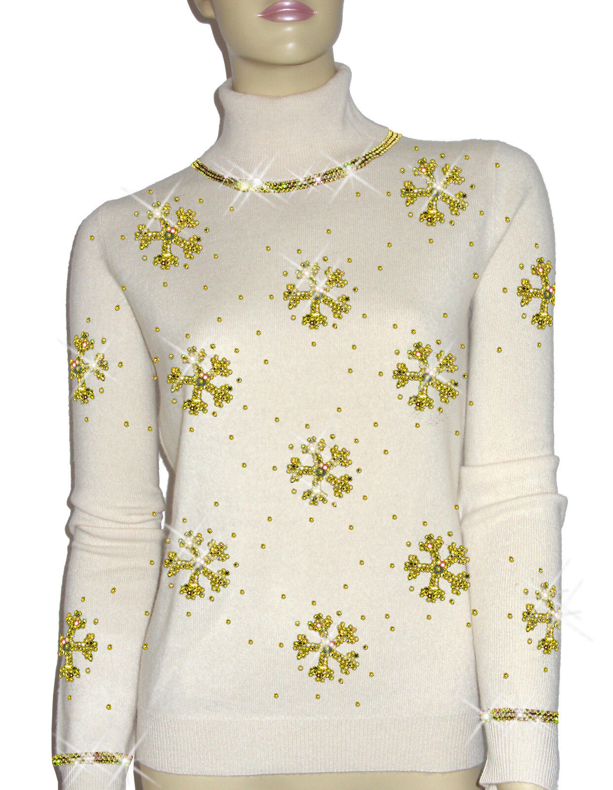 Luxe Oh` Dor 100% Cashmere Sweater Luxury Snowflakes Pearl White gold 34 36 S