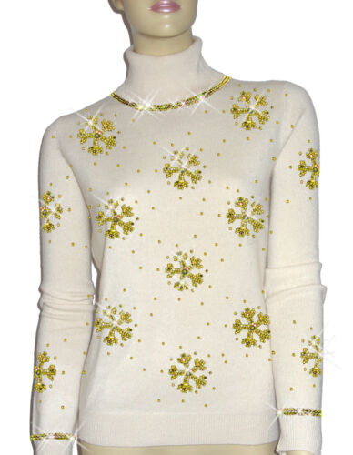 100 perla 46 di in lusso fiocchi cashmere maglione turchese Luxe `dor 48 L di Oh neve bianco Xwq7pxFT