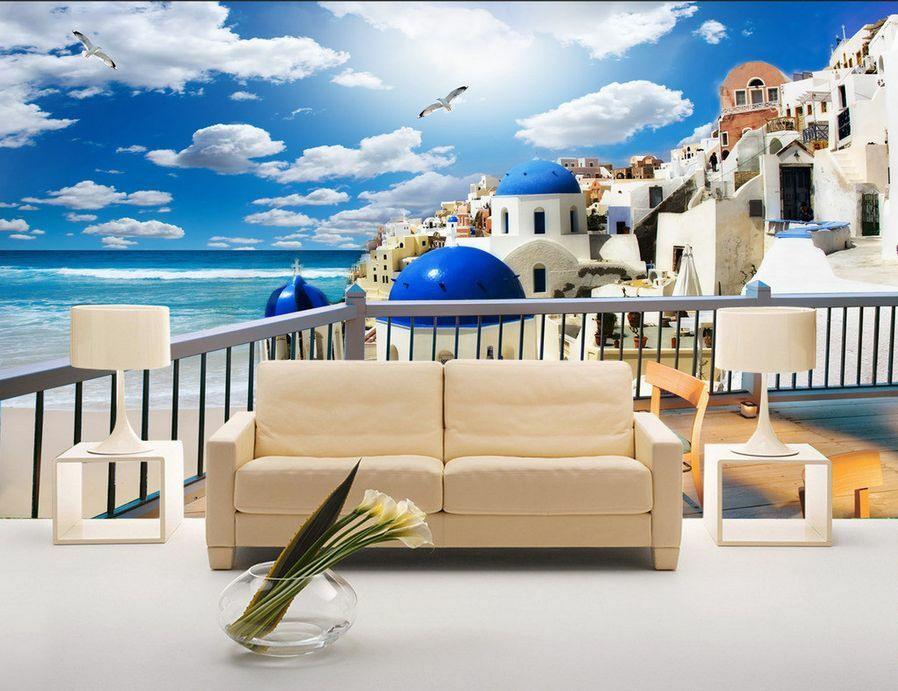 3D Mega Seaside Modern Town 502 Wall Paper Wall Print Decal Wall AJ Wall Paper