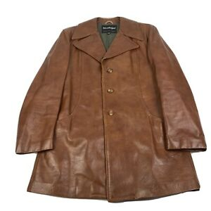 Vintage Men's Stratojac Brown Leather Jacket Size 42 Lined LS