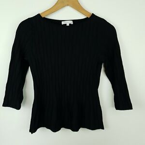 Veronica-Maine-Women-039-s-Top-Black-Fitted-3-4-Sleeve-Knit-Size-S