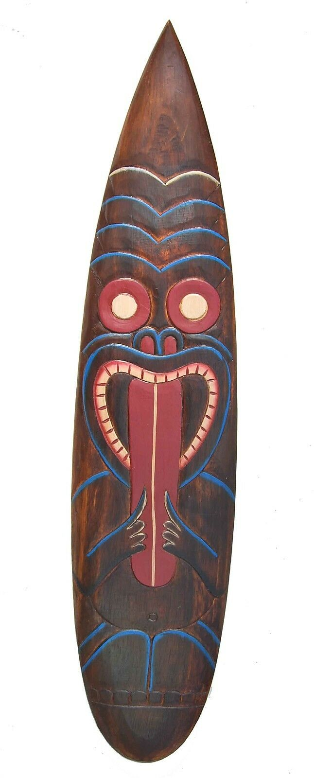 Tiki Surf Board 100cm to Hang Sign Tiki Style Surfboard South Seas Easter Island