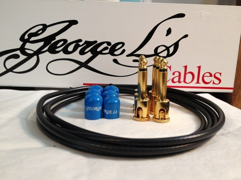 George L's 155 Guitar Pedal Cable Kit .155 schwarz   Blau   Gold - 6 6 6