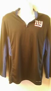 Majestic-Cool-Base-NFL-Football-New-York-Giants-L-S1-4-Zip-Shirt-Size-Large