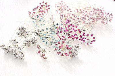 JOB LOT OF 30 LARGE DIAMANTE STONE FLOWER PINS SILVER BRIDAL PROM WEDDING MIX