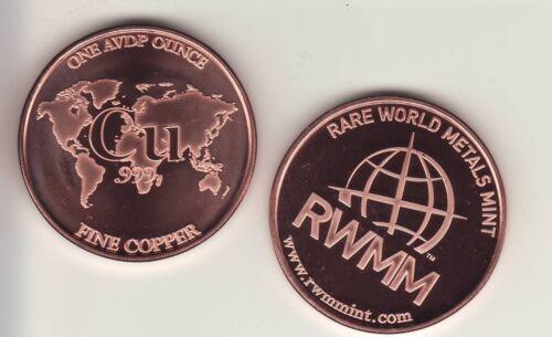 "Copper Round Coin  RARE WORLD METALS MINT /""CU/""  1 oz"