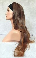 Long Brown Slight Waves High Heat Ok Synthetic Headband Wig - 11a