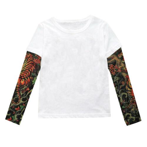 Toddler Baby Kids Boy Fall T-Shirt with Mesh Tattoo Print Long Sleeve Tee Tops K