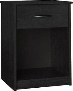 Ameriwood Night Stand 1 Drawer Bedroom End Table Black Ebony | eBay
