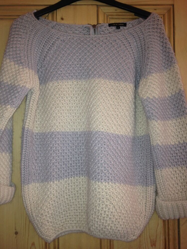 River Island Knit Cream Lilic Grey Striped Zip Jumper