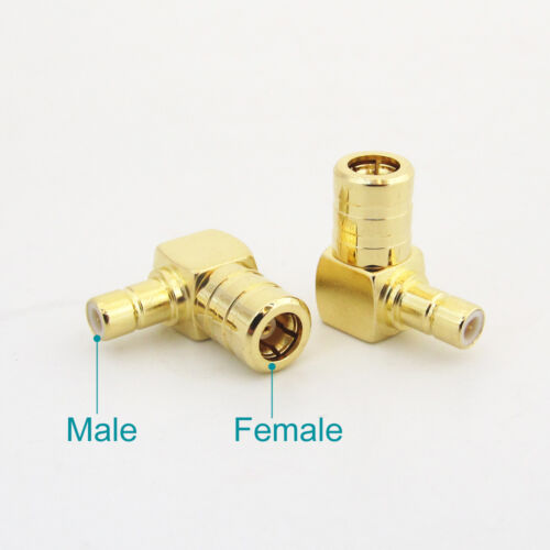 4x Gold SMB Male to SMB Female M//F Right Angle 90 Degree RF Adapter Connector US