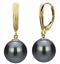 12 mm noir South Sea Shell Perle 14K Or Plaqué Dangle Boucles d/'oreilles AAA