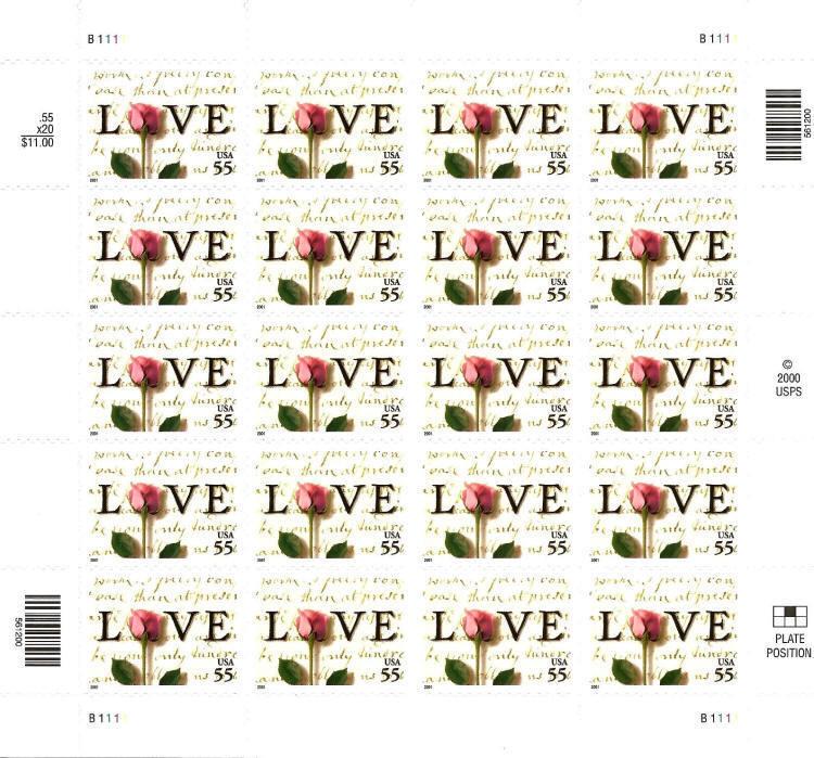 2001 55c Rose & Love Letters, Sheet of 20 Scott 3499 Mi