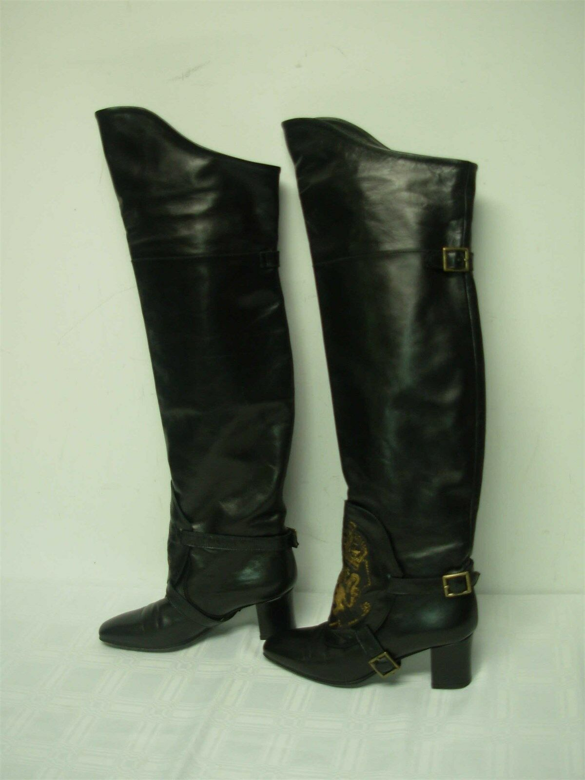 contatore genuino RALPH RALPH RALPH LAUREN ITALY nero LEATHER donna HIGH stivali GRIFFIN BUCKLE LOGO SZ 6 1 2  edizione limitata