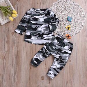 2ecbe25fc Toddler Kids Baby Boy Girl Camo Suit T-shirt Tops+Pants Outfits ...