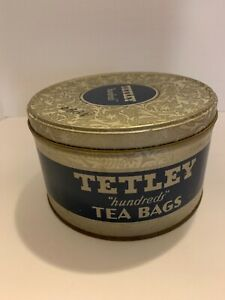 Vintage-Tetley-100-Tea-Bag-Tin-EMPTY-cannister-FREE-SHIPPING