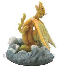 Mini Yellow Dragon Statue in Waterfall Fantasy Figurine 67816 Free S&H